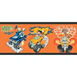 Imperial Disney Home DF059203B Mickey Monster Truck Border, Orange, 10.25-Inch Wide