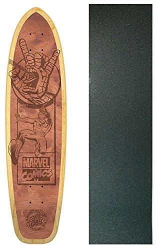 SANTA CRUZ Skateboard Deck SPIDERMAN ENGRAVED NATURAL with GRIPTAPE