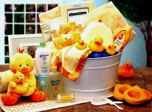 Bath Time Baby Gift Basket Medium or Large Sizes, Yellow