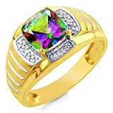 10K Yellow Gold Diamond Accented with Mystic Topaz Men's Ring - Size 10.5