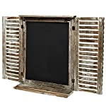 MyGift Rustic Standing Chalkboard with Folding Shutter Doors, Torched Wood Finish