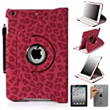 E LV 360 Degrees Rotating Stand Luxury Leopard Design PU Leather Case for Apple New iPad Mini with Automatic Wake and Sleep function+1 Black Stylus, 1 Screen Protector and E LV Microfiber Sticker Digital Cleaner (Hot Pink, iPad Mini)