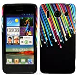 Black Shooting Stars TPU Gel Case Cover For Huawei Ascend G510
