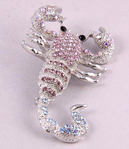 Unique Scorpion Brooch Pin ~ Multicolor Rhinestone Crystals ~ Fashion Jewelry