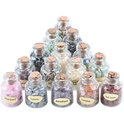 Aoneitem 9 Mini Gemstone Bottles Chip Crystal Healing Tumbled Gem Reiki Wicca Stones Set