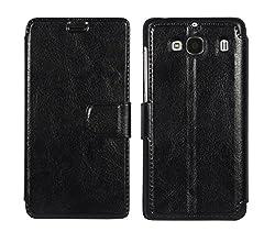 Xiaomi Redmi 2 Case Cover : Cubix Slim wallet book Case Flip Cover for Xiaomi Redmi 2 (Black)