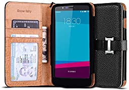 LG G4 Cases, [Snow Fairy] G4 Flip Cover Case [Premium Synthetic Leather Wristlet Series][Card Holder] [Wallet] - [Leather Fit]Wrist Strap PU Leather Case for LG G4 - Special ID Slot Design (SG-S6-PUL-C-001) G4 Case ECO Package Black
