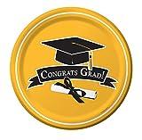 Creative Converting 18 Count Congrats Grad School Color Dessert/Lunch Paper Plates, School Bus Yello