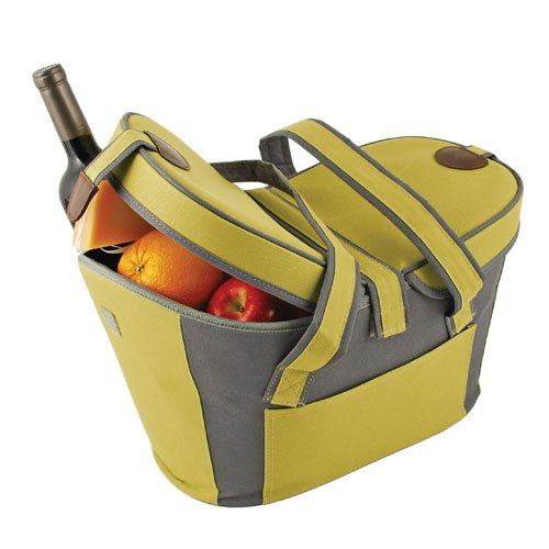 True Fabrications Collapsible Style Insulated Picnic Tote For Groceries, Cold Food, Warm Food, Picnics, Bbq'S Potlucks - Green front-506384