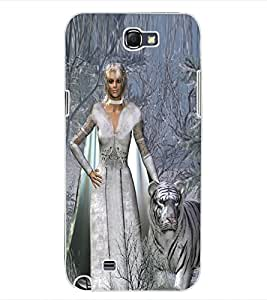 ColourCraft Princess and Tiger Design Back Case Cover for SAMSUNG GALAXY NOTE 2 N7100