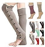 V28Women Knee High Knit Flat Button Down Crochet Lace Trim Leg Warmers