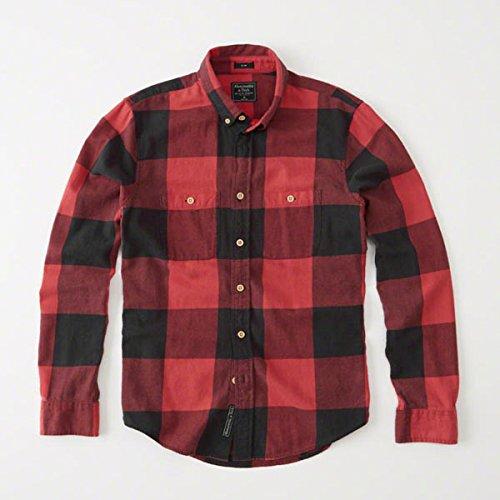 (アバクロンビー & フィッチ) Abercrombie & Fitch ネルシャツ Washed Flannel Shirt - Red Check [並行輸入品]
