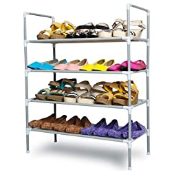 Everything Imported Portable Multipurpose Modern 4 Layer Metal Shoe Rack Shoes Storage Cabinet Best Foldable Movable Organizer(Silver)