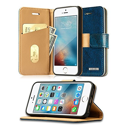 05. Labato iPhone SE/5S/5 Genuine Leather Wallet Case Protective Folio Flip Cover Sleeve with Stand Feature/Magnetic Closure/ Card&Cash Compartment for Apple iPhone SE Blue Lbt-ISE-02Z46