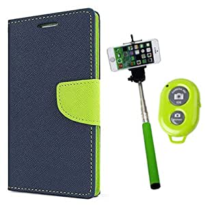 Aart Fancy Diary Card Wallet Flip Case Back Cover For Nexus 4 - (Blue) + Remote Aux Wired Fashionable Selfie Stick Compatible for all Mobiles Phones By Aart Store