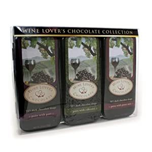 Wine Lover's Chocolate 3-Tin Gift Set, Pair with Port, Cabernet, Pinot Noir, 10.5-Ounce Gift Set