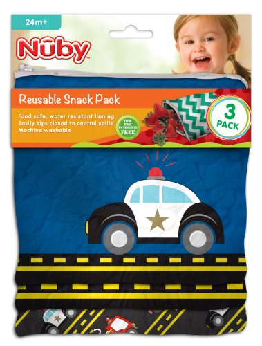 Nuby Reusable Sandwich And Snack Bag - Cars - 3 Ct