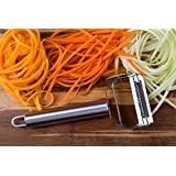 Kitchen Winners Ultra Sharp Stainless Steel Dual Julienne & Vegetable Peeler With Cleaning Brush