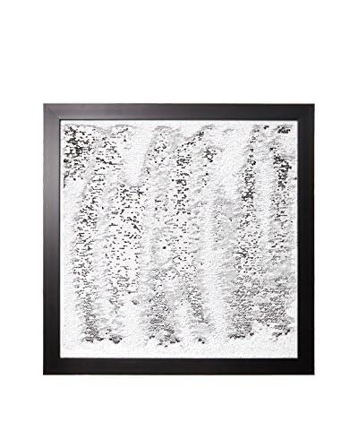 Aviva Stanoff Two-Tone Sequined Sketch Framed Art, White/Silver