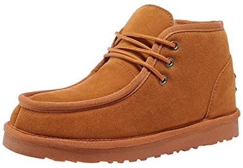 Rock Me Men'S Genuine Leather Fluff Snow Boot(Chestnut,8.5)