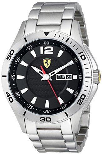 Ferrari 0830094 - Reloj para hombres, correa de acero inoxidable color plateado