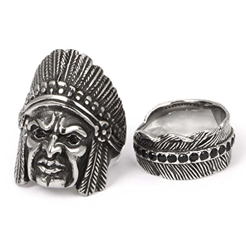 Bmc 2 Pc Mens Silver Colored Alloy Metal Feather Size 9 Design Fashion Rings - Set 4: High Chief