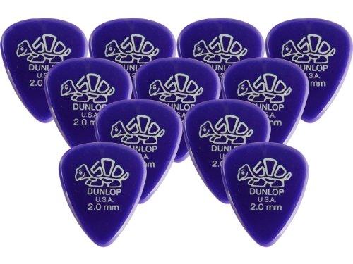 Dunlop 41P20 2.0mm (Purple) Delrin Guitar Picks, 12-Pack