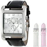 Geneva Women's 2377-setB-GEN Silver-Tone Square Oversized Watch Set with Three Interchangeable Faux Leather Straps