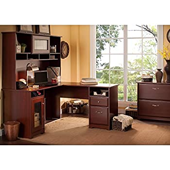 Cabot L Shaped Desk with Hutch and Lateral File Cabinet