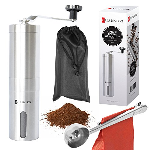 Lowest Prices! Gala Maison S1 Manual Burr Coffee Grinder Kit, Premium Stainless Steel Design.For Hom...
