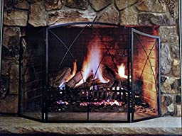 Black Steel Arched 3-Panel Victorian Gothic Fireplace Screen
