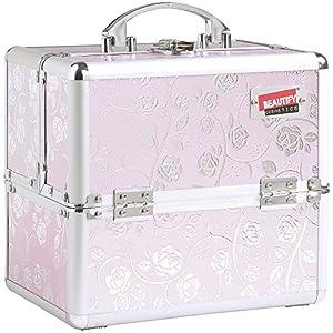 Beautify- Malette Professionnelle pour Maquillage et Cosmétique Cannes en Aluminium de couleur Motif Rose