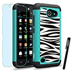 AT&T Huawei Tribute / Fusion 3 / Y536A1 Case, ToPerk (TM) Cyber Graphic Armor Case + Free HD Screen Protector & Stylus Pen As Bundle Sale - Zebra Skin