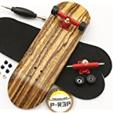 Peoples Republic Zebra Complete Wooden Fingerboard w Nuts Trucks - Basic Bearing Wheels