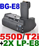 Battery Grip BG-E8 for Canon EOS 550D / Rebel T2i SLR Digital Camera + 2x L ....