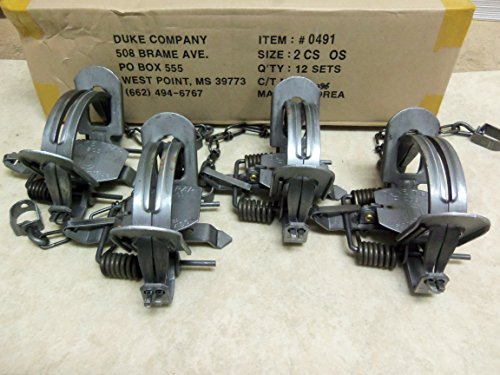 4 Duke #2 CS Offset Traps 5.5 jaw Spread Raccoon Bobcat Coyote Fox Wildlife 0491 (Coil Trap compare prices)