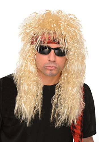 [Men's Blonde 80s Glam Rock Heavy Metal Wig - One Size Fits Most] (80s Metal Costumes)