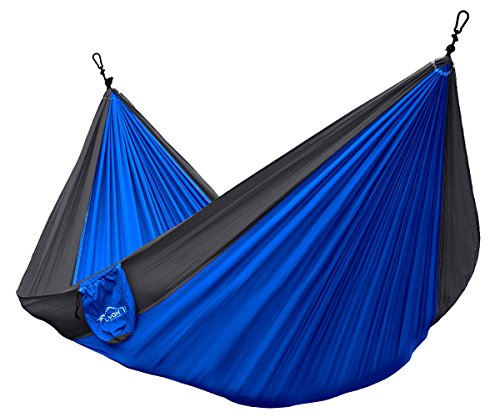 Lamoo Single Parachute Camping Hammocks by Yak Outfitters   Lightweight Nylon Compression backpacking Hammock, 100% SATISFACTION (Sapphire Blue Grey)