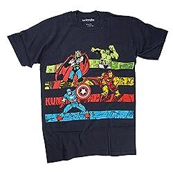 Marvel Avengers Classic Marvel Stripes Mens Navy Blue T-Shirt | S
