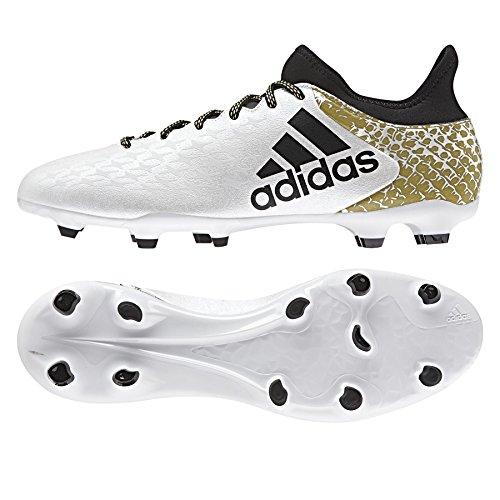 Adidas X 16.3 Fg - Scarpe da Calcio Uomo, Bianco (Ftwr White/Core Black/Gold Met), 42 EU