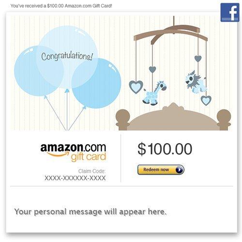 Amazon Gift Card - Facebook - New Baby Boy (Balloons) front-552689