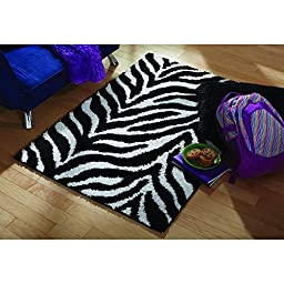 Your Zone Zebra Print Shag Olefin Kids & Children\'s Rug, 3\' x 4\'8\