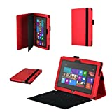 DURAGADGET Executive Faux Leather Folio Case With Built In Stand Custom Designed For The Microsoft Surface 10.6 Inch Tablet Hybrid PC (With Windows RT, 32GB, 64GB, Type Cover Keyboard) (Red)