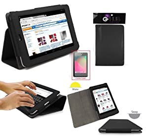 G-HUB PropUp BLACK Case Cover Faux-Leather Folio with integrated stand function and magnetic sleep sensors for Google Nexus 7 Asus Tablet (Fits all Nexus 7 versions - 8GB, 16GB, 32GB Wi-Fi & HSPA+) with Screen Protector Included