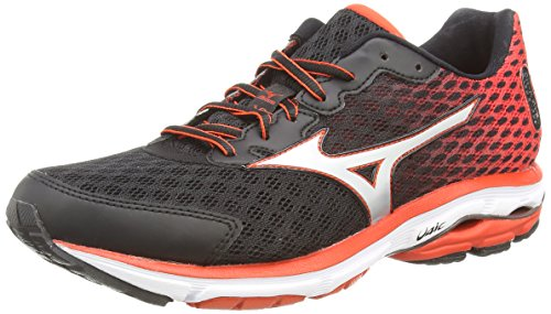 Mizuno Wave Rider 18, Scarpe sportive, Uomo, Multicolore (Black/Silver/Orange.Com), 46