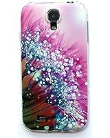 JIAXIUFEN TPU Coque - pour Samsung Galaxy S4 Silicone Étui Housse Protecteur (NON compatible avec S4 mini) -Pink Flower with Clear Water Drop Style