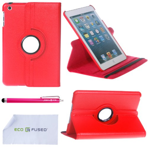 360 Degrees Rotating PU Stand Stylish Case for new iPad mini with 1 Stylus / 1 ECO-FUSED® Microfiber Cleaning Cloth Included (Red)