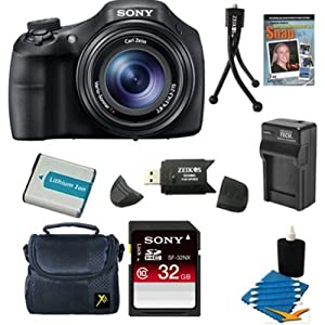 Sony DSC-HX300/B DSCHX300V DSC-HX300V Black Digital Camera 32GB Bundle - Includes 32 GB SDHC Memory Card - Class 10, Special DVD Guide to Digital Photography Compact Gadget Bag, NP-BX1 1600MAH Battery Pack, AC/DC Battery Charger + More