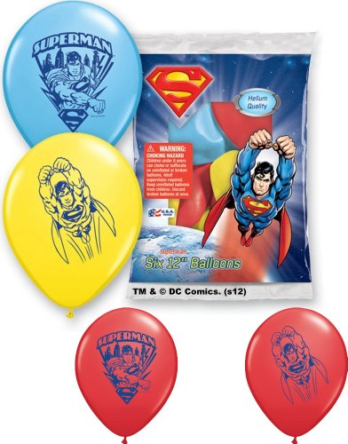 "Pioneer National Latex Superman 6 Count 12"" Latex Balloons, Assorted - 1"
