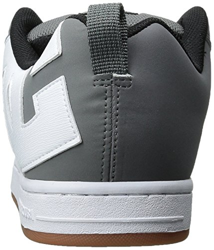 DC Men's Court Graffik Skate Shoe, Grey/White/Grey, 7 M US